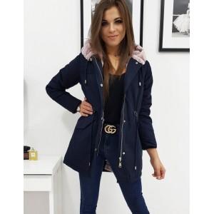 Krásná granátově modrá dámská zimní bunda s růžovou kožešinou