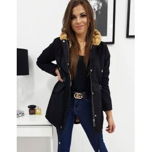 Černá dámská zimní bunda parka s hnědým kožíškem