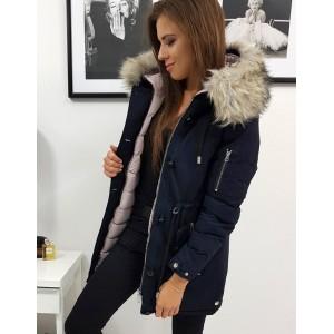 Moderní dámská modrá oboustranná bunda na zimu s kapucí