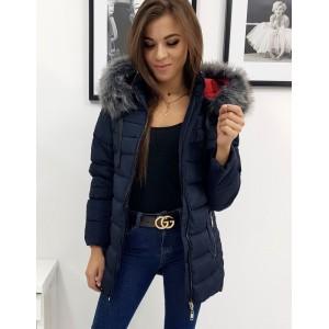 Prošívaná tmavě modrá dámská bunda s kapucí a kožešinou