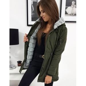 Stylová dámská zelená bunda zimu s odnímatelnou šedou kožešinou
