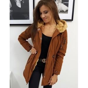 Karamelově hnědá dámská zimní bunda parka s kapucí a kožíškem