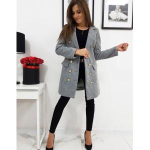 Dámský kabát v šedé barvě se zapínáním na knoflíky