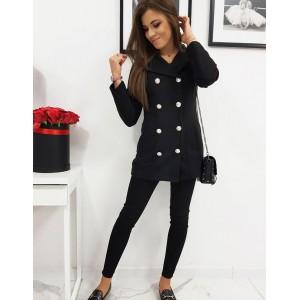 Černý dámský kabát s podšívkou