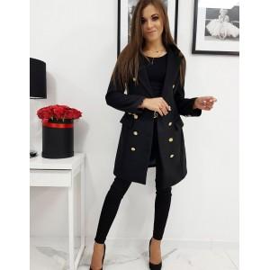 Moderní dámský kabát v černé barvě se zapínáním na knoflíky