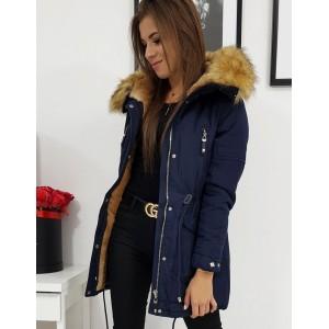 Dámská zimní bunda v modré barvě s kožešinou