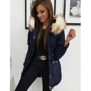 Modrá dámská zateplená bunda s kožešinou
