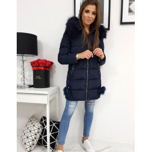 Dámská zimní bunda s prošíváním v modré barvě