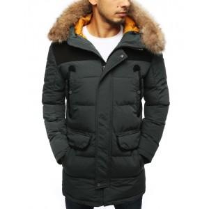 Pánská zimní prošívaná bunda šedé barvy s kapucí