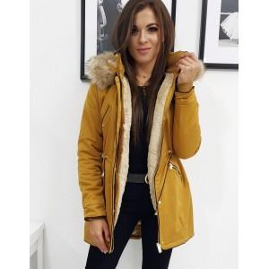 Dámská žlutá zimní bunda s kožešinou