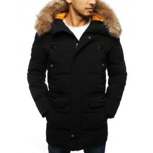 Černá pánská prošívaná bunda na zimu s kapucí