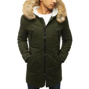 Pánská zimní bunda dlouhého střihu s hustou kožešinou