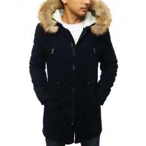 Tmavě modrá zimní bunda pro pány s odnímatelnou kožešinou