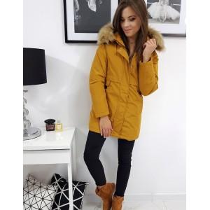 Dámská zimní bunda s kožešinou ve žluté barvě