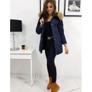 Zimní bunda dámská v modré barvě se zapínáním na zip