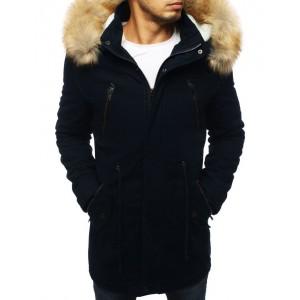 Dlouhá zimní bunda pro pány v tmavě modré barvě
