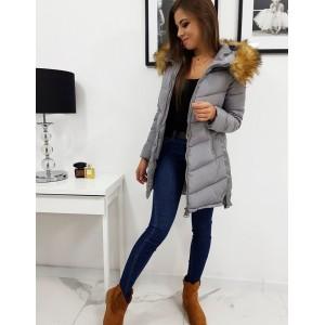 Šedá zimní bunda s odnímatelnou kapucí