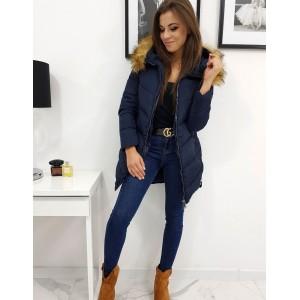 Modrá bunda na zimu pro dámy s odnímatelnou kožešinou
