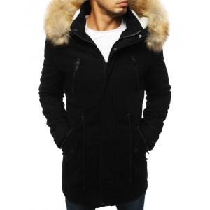 Pánská zimní bunda s kapucí černé barvy