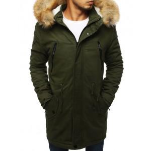 Zelená pánská zimní bunda dlouhého střihu s kožešinou