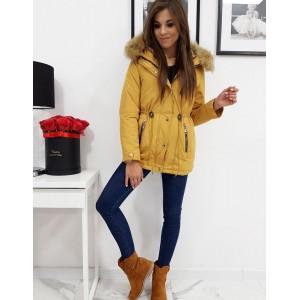 Žlutá dámská zimní bunda parka s kapucí a odnímatelným kožíškem