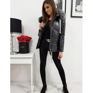 Trendy lesklá dámská černá prošívaná bunda v módním designu