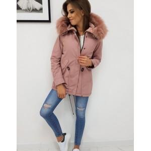 Růžová dámská bavlněná zimní bunda s kožíškem a kapucí