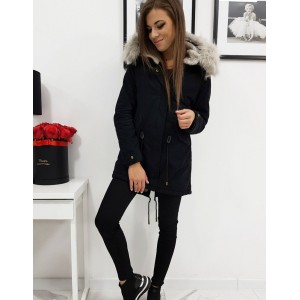 Módní dámská černá zateplená zimní bunda s kapucí a kožešinou