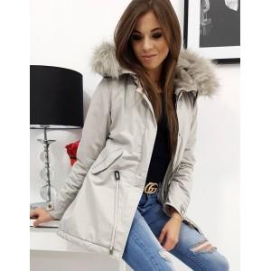 Stylová dámská zimní bunda parka s kapucí v módní světle šedé barvě