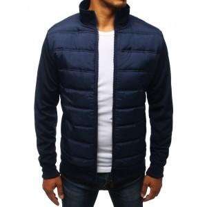 Prošívaná bunda bez kapuce na jaře v modré barvě