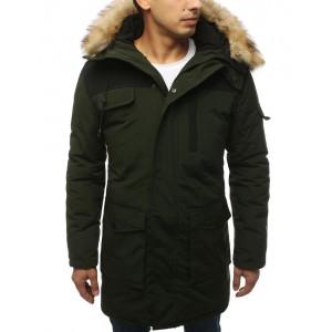 Stylová pánská dlouhá zimní bunda s kožešinou v zelené barvě