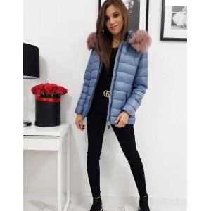 Krásná modrá dámská bunda na zimu s růžovou kožešinou