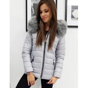 Dámská stylová zimní bunda s kožešinou v šedé barvě