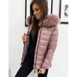 Dámská zimní bunda s kožešinou v růžové barvě