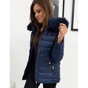 Teplá dámská zimní bunda v modré barvě s kapucí