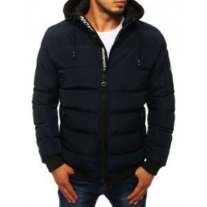 Tmavě modrá přechodná bunda s odnímatelnou látkovou kapucí