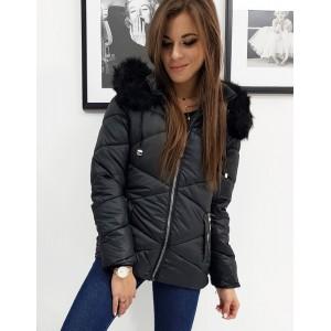 Prošívaná dámská bunda na zimu v černé barvě