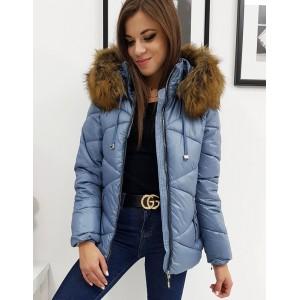 Kvalitní dámská zimní bunda s kožešinou v modré barvě