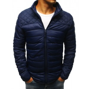 Elegantní tmavě modrá bunda bez kapuce