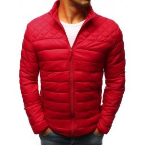 Červená pánská přechodná bunda s prošíváním
