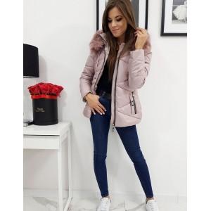Stylová dámská zimní bunda v růžové barvě s kapucí