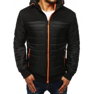 Černá pánská podzimní bunda s barevným zipem