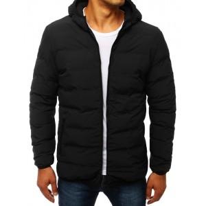 Prošívaná přechodná bunda s kapucí černé barvy
