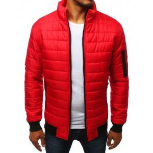 Stylová přechodná bunda červené barvy bez kapuce