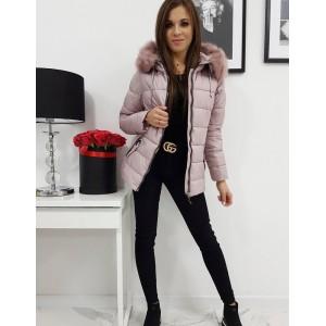 Růžová dámská zimní bunda s prošíváním