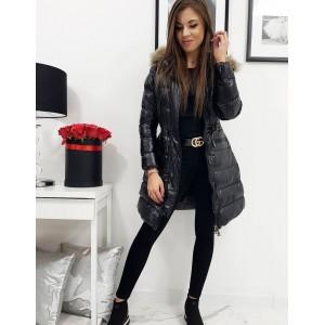 Luxusní dámská dlouhá černá prošívaná bunda s kapucí a kožešinou