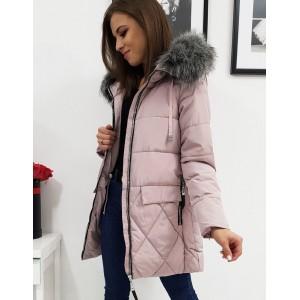 Růžová dámská dlouhá bunda na zimu s kapucí a bohatou kožešinou