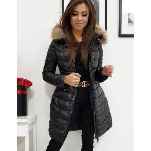 Originální dámská dlouhá prošívaná černá bunda na zimu s kapucí