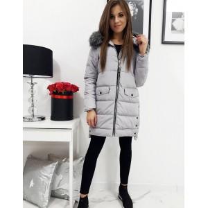 Stylová dámská prošívaná zimní bunda s kapucí a bohatou kožešinou