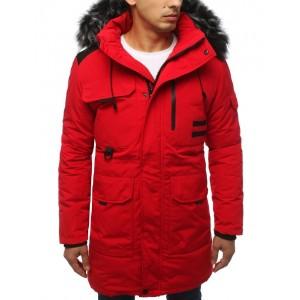 Originálna pánska červená zimná bunda s kapucňou a bohatou kožušinou